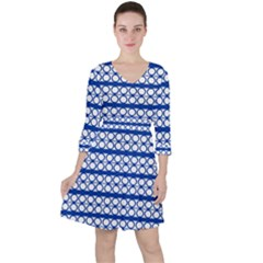 Circles Lines Blue White Pattern  Ruffle Dress by BrightVibesDesign