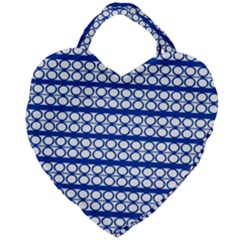 Circles Lines Blue White Pattern  Giant Heart Shaped Tote by BrightVibesDesign