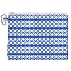 Circles Lines Blue White Pattern  Canvas Cosmetic Bag (xxl) by BrightVibesDesign