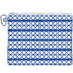 Circles Lines Blue White Pattern  Canvas Cosmetic Bag (xxxl) by BrightVibesDesign