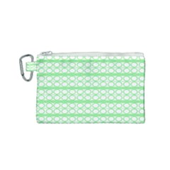 Circles Lines Green White Pattern Canvas Cosmetic Bag (small) by BrightVibesDesign