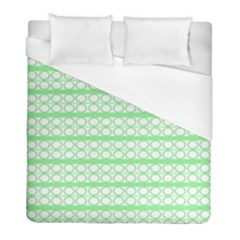 Circles Lines Green White Pattern Duvet Cover (full/ Double Size) by BrightVibesDesign