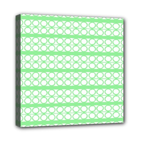 Circles Lines Green White Pattern Mini Canvas 8  X 8  by BrightVibesDesign