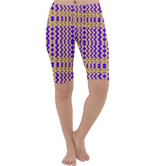 Purple Yellow Wavey Lines Cropped Leggings  by BrightVibesDesign