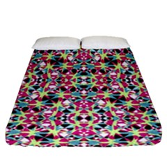 Multicolored Abstract Geometric Pattern Fitted Sheet (queen Size) by dflcprints