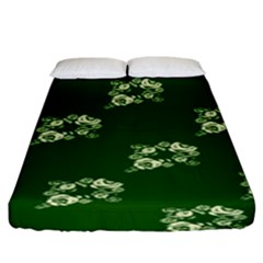 Canal Flowers Cream On Green Bywhacky Fitted Sheet (king Size)