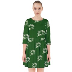 Canal Flowers Cream On Green Bywhacky Smock Dress
