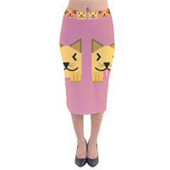 Pet Animal Feline Domestic Animals Velvet Midi Pencil Skirt