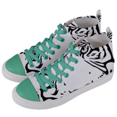 Tiger Pattern Animal Design Flat Women s Mid Top Canvas Sneakers by Simbadda