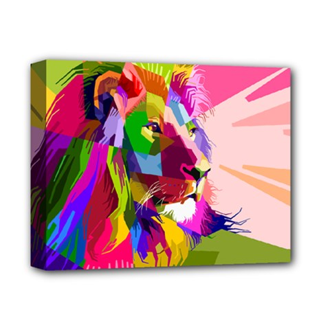 Animal Colorful Decoration Lion Deluxe Canvas 14  X 11  by Simbadda