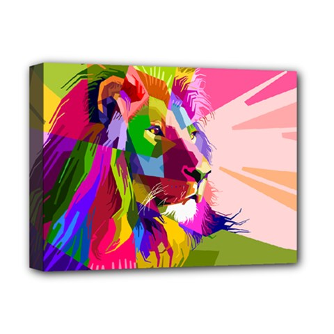 Animal Colorful Decoration Lion Deluxe Canvas 16  X 12   by Simbadda