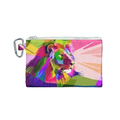 Animal Colorful Decoration Lion Canvas Cosmetic Bag (small)