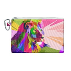 Animal Colorful Decoration Lion Canvas Cosmetic Bag (large)