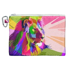 Animal Colorful Decoration Lion Canvas Cosmetic Bag (xl) by Simbadda