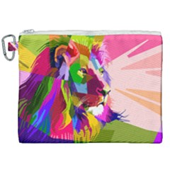 Animal Colorful Decoration Lion Canvas Cosmetic Bag (xxl) by Simbadda