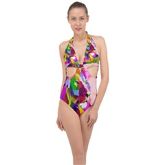 Animal Colorful Decoration Lion Halter Front Plunge Swimsuit