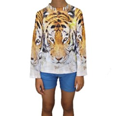Tiger Watercolor Colorful Animal Kids  Long Sleeve Swimwear by Simbadda