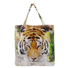 Tiger Watercolor Colorful Animal Grocery Tote Bag