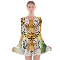 Tiger Watercolor Colorful Animal Long Sleeve Skater Dress by Simbadda