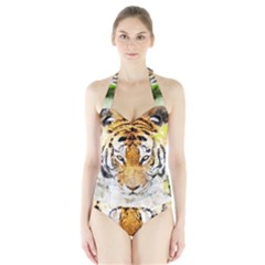 Tiger Watercolor Colorful Animal Halter Swimsuit by Simbadda