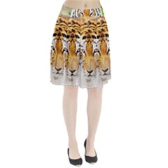 Tiger Watercolor Colorful Animal Pleated Skirt