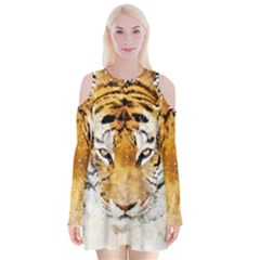 Tiger Watercolor Colorful Animal Velvet Long Sleeve Shoulder Cutout Dress