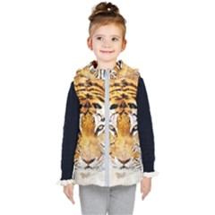 Tiger Watercolor Colorful Animal Kid s Hooded Puffer Vest
