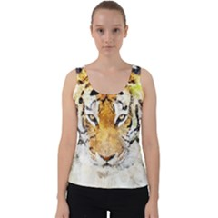 Tiger Watercolor Colorful Animal Velvet Tank Top