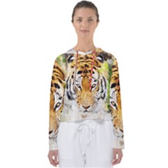 Tiger Watercolor Colorful Animal Women s Slouchy Sweat by Simbadda