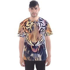Tiger Animal Teeth Nature Design Men s Sports Mesh Tee by Simbadda