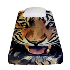 Tiger Animal Teeth Nature Design Fitted Sheet (single Size) by Simbadda