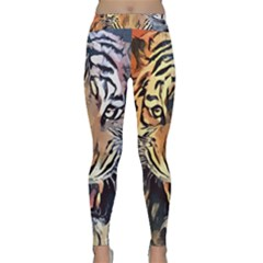 Tiger Animal Teeth Nature Design Classic Yoga Leggings by Simbadda