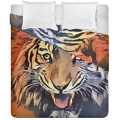 Tiger Animal Teeth Nature Design Duvet Cover Double Side (california King Size) by Simbadda