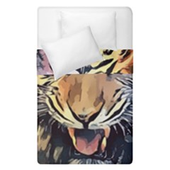 Tiger Animal Teeth Nature Design Duvet Cover Double Side (single Size) by Simbadda