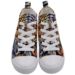 Tiger Animal Teeth Nature Design Kid s Mid Top Canvas Sneakers