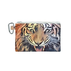 Tiger Animal Teeth Nature Design Canvas Cosmetic Bag (small)