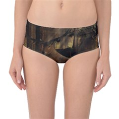 Mammal Nature Wood Tree Waters Mid Waist Bikini Bottoms by Simbadda