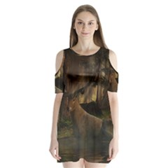 Mammal Nature Wood Tree Waters Shoulder Cutout Velvet One Piece