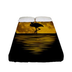 Moon Reflection Flamenco Animal Fitted Sheet (full/ Double Size)