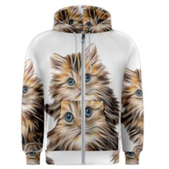 Kitten Mammal Animal Young Cat Men s Zipper Hoodie by Simbadda