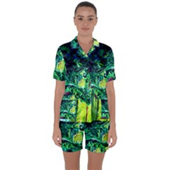 Old Tree And House With An Arch 3 Satin Short Sleeve Pyjamas Set by bestdesignintheworld