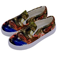Pagoda And Calligraphy Kids  Canvas Slip Ons by bestdesignintheworld