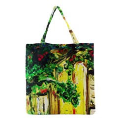 Old Tree And House With An Arch 2 Grocery Tote Bag by bestdesignintheworld