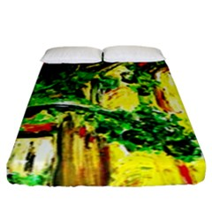 Old Tree And House With An Arch 2 Fitted Sheet (king Size) by bestdesignintheworld
