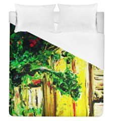 Old Tree And House With An Arch 2 Duvet Cover (queen Size) by bestdesignintheworld