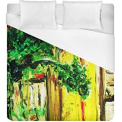 Old Tree And House With An Arch 2 Duvet Cover (king Size) by bestdesignintheworld