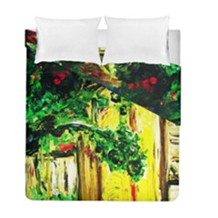 Old Tree And House With An Arch 2 Duvet Cover Double Side (full/ Double Size) by bestdesignintheworld