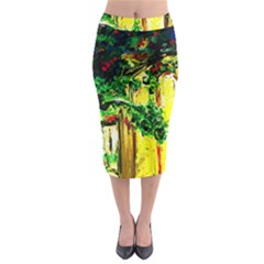 Old Tree And House With An Arch 2 Midi Pencil Skirt by bestdesignintheworld