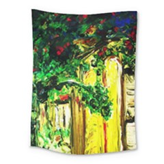 Old Tree And House With An Arch 2 Medium Tapestry by bestdesignintheworld