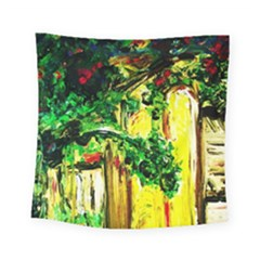 Old Tree And House With An Arch 2 Square Tapestry (small) by bestdesignintheworld
